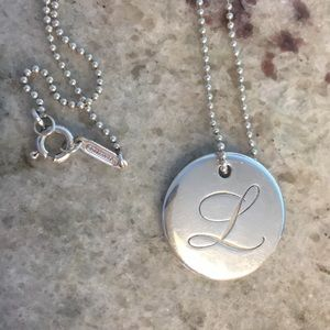 "Tiffany & Co 925 Silver initial Pendant Chain ""L"""